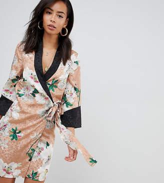 Asos Tall DESIGN Tall kimono wrap mini dress in floral jacquard print