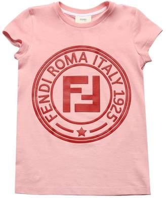 Fendi Rubber Logo Cotton Jersey T-Shirt
