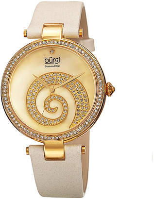 Burgi Womens Crystal Swirl White Leather Strap Watch