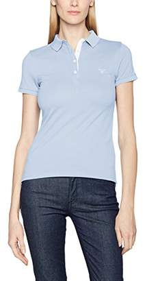 Gant Women's Short Sleeved Contrast Collar Piqué Shirt (Hamptons Blue), (Size: M)