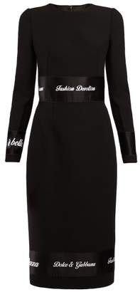 Dolce & Gabbana Fashion Devotion Embroidered Wool Dress - Womens - Black