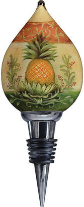 Precious Moments Ne'Qwa Art Hand-Painted Blown Glass Welcome Pineapple Wine Stopper