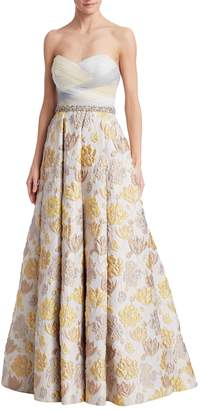 Badgley Mischka Women's Floral Strapless Gown