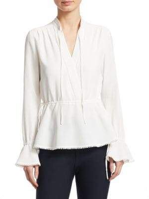 Derek Lam 10 Crosby Long-Sleeve Peplum Blouse