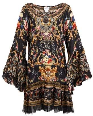 Camilla Friend In Flora Print Silk Mini Dress - Womens - Brown Print