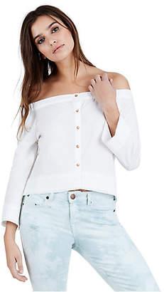 True Religion Womens Off Shoulder Button Up Shirt