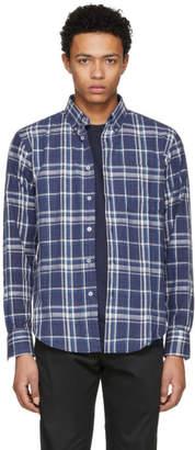 Naked and Famous Denim Blue Hemp Blend Check Shirt