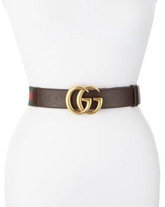 Gucci Wide Leather/Web Belt, Cocoa $390 thestylecure.com