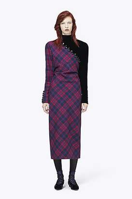 COLLECTION (RUNWAY) Long-Sleeve Embroidered Plaid Dress