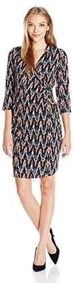 NY Collection Women's Petite Printed 3/4 Sleeve Dress with Pleated Wrap Front and Grommet and Tie AT Waist,Petite/Small