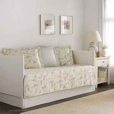 Quilt Joy 5 Piece Daybed Set - Gray/Yellow (Daybed)