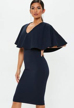 Missguided Plunge Cape Detail Midi Dress