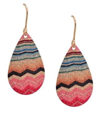 Missoni Spinningdaisy Geometric Pattern Dangling Tear Drop Earrings (Red