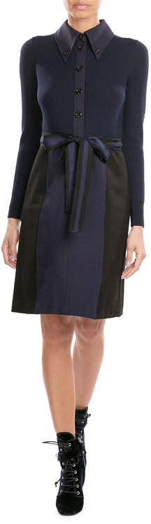 Marc Jacobs Marc Jacobs Merino Wool Mixed-Media Shirtdress