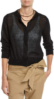 Brunello Cucinelli Linen-Silk Paillette Cropped Cardigan