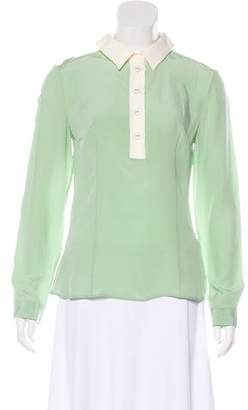 Prada Long Sleeve Silk Top