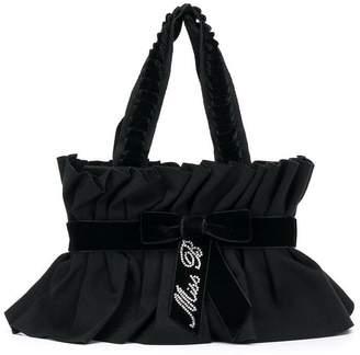 Miss Blumarine ruched logo bow shoulder bag
