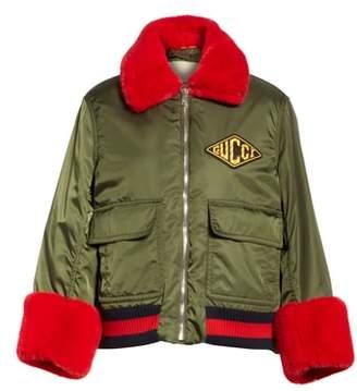 Gucci Faux Fur Trim Nylon Flight Jacket