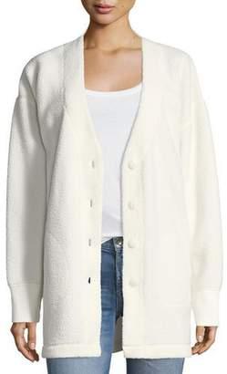 Rag & Bone Sherpa Fleece V-Neck Button-Front Cardigan
