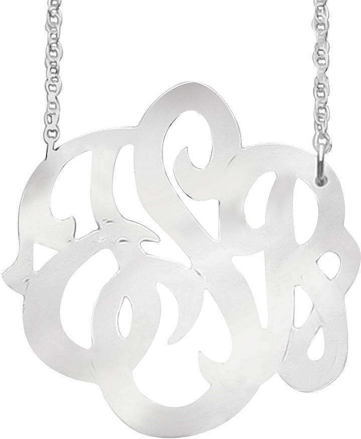 JCPenney FINE JEWELRY Personalized Sterling Silver 25mm Script Monogram Necklace