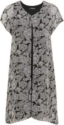 Evans Black Paisley Printed Split Front Dress