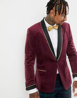 Asos DESIGN skinny blazer in burgundy velvet with shawl lapel