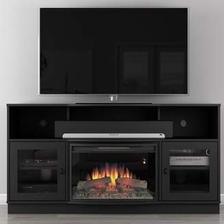 "Furnitech Contemporary TV Stand for TVs up to 60"" with Fireplace Furnitech"