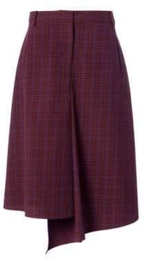 Tibi Check Drape Midi Skirt