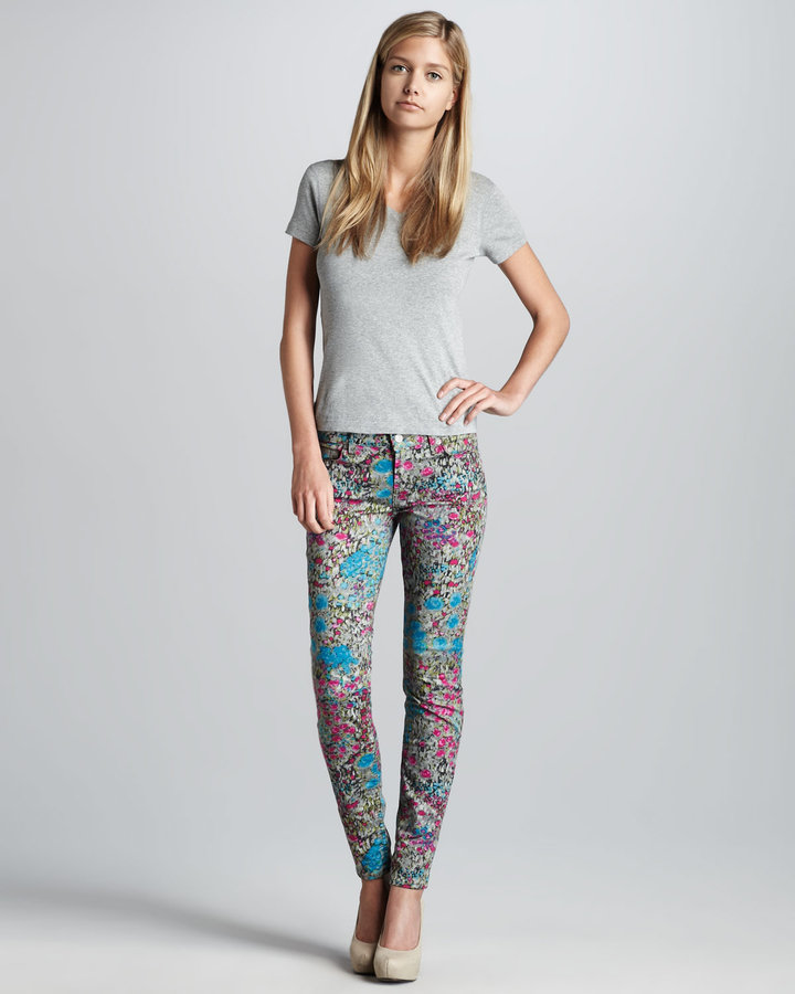7 For All Mankind Printed Skinny Jeans, Garden Party
