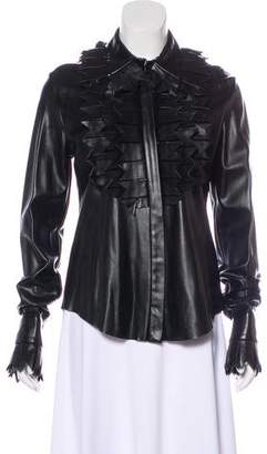 Viktor & Rolf Faux Leather Button-Up Jacket