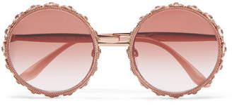 Dolce & Gabbana - Swarovski Crystal-embellished Round-frame Rose Gold-tone Sunglasses - Pink $2,540 thestylecure.com