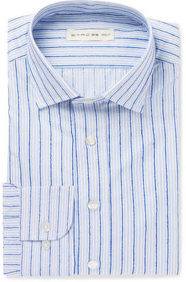 Etro Blue Slim-Fit Striped Fil Coupé Cotton Shirt