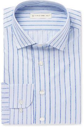 Etro Blue Slim-Fit Striped Fil Coupé Cotton Shirt