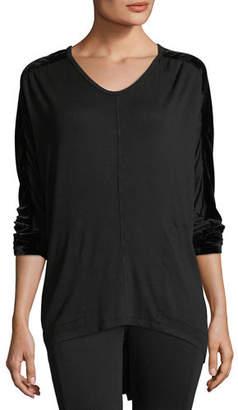 XCVI Orenda Terry Top w/ Velvet Detail, Plus Size