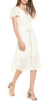 Women's Leith Belted Flutter Sleeve Dress $79 thestylecure.com