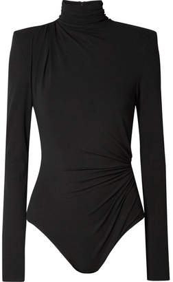 Alexandre Vauthier Ruched Stretch-jersey Turtleneck Bodysuit - Black
