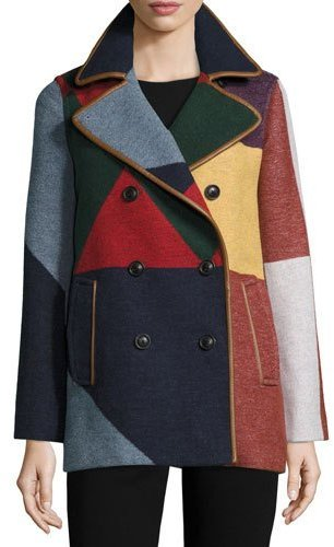 Tory BurchTory Burch Cheval Colorblock Pea Coat, Carnavalet