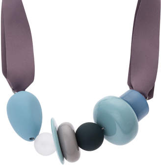 Oliver Bonas Mirabelle Mixed Material Ribbon Collar Necklace