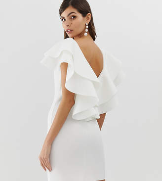 Asos Design DESIGN open back mini dress with double ruffle