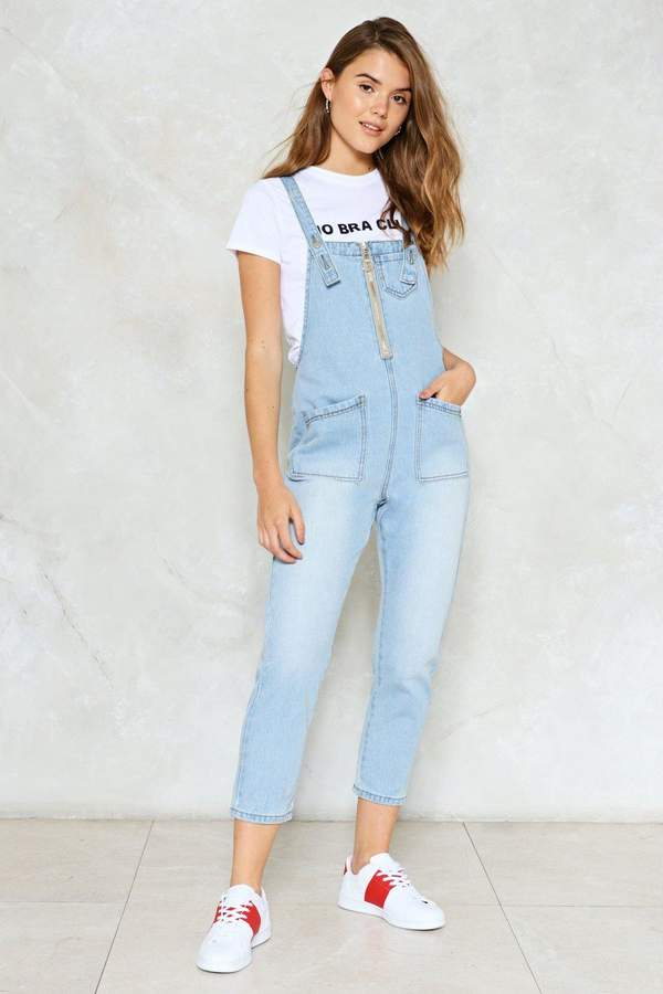 nastygal Let It Zip Denim Overalls