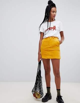 Monki Cord Mini Skirt In Yellow