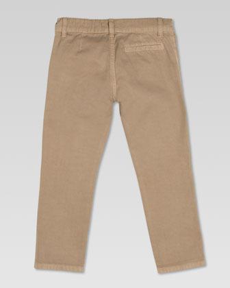 Gucci Washed Cotton Gabardine Pants, Khaki