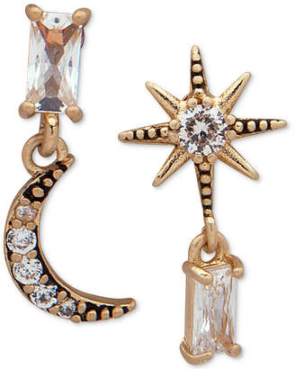 lonna & lilly Gold-Tone Crystal Moon & Star Mismatch Drop Earrings