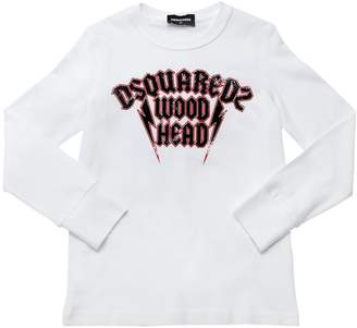 DSQUARED2 Wood Head Jersey Long Sleeve T-Shirt