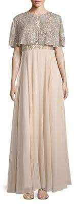 Aidan Mattox Two-Piece Beaded A-Line Gown and Cape