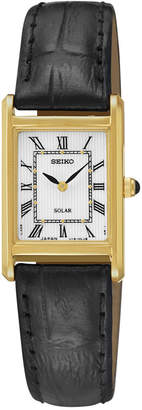 Seiko Women's Solar Black Leather Strap Watch 18mm SUP250