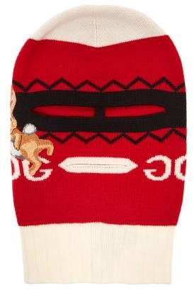 Gucci Bunny Applique Wool Balaclava - Womens - Red