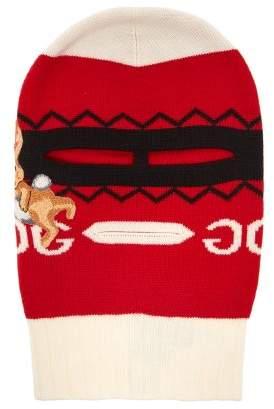 Gucci Bunny Applique Wool Balaclava - Womens - Red