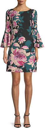 Eliza J Floral Bell-Sleeve Shift Dress