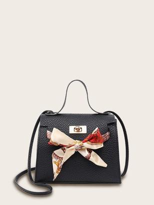 Shein Twilly Scarf Pebble Detail Satchel Bag